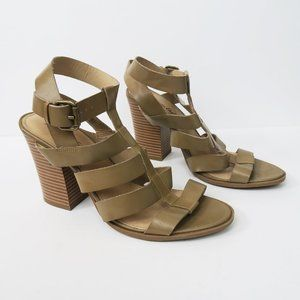 Strappy Sandals Stacked Block Heels Tan Neutral 11